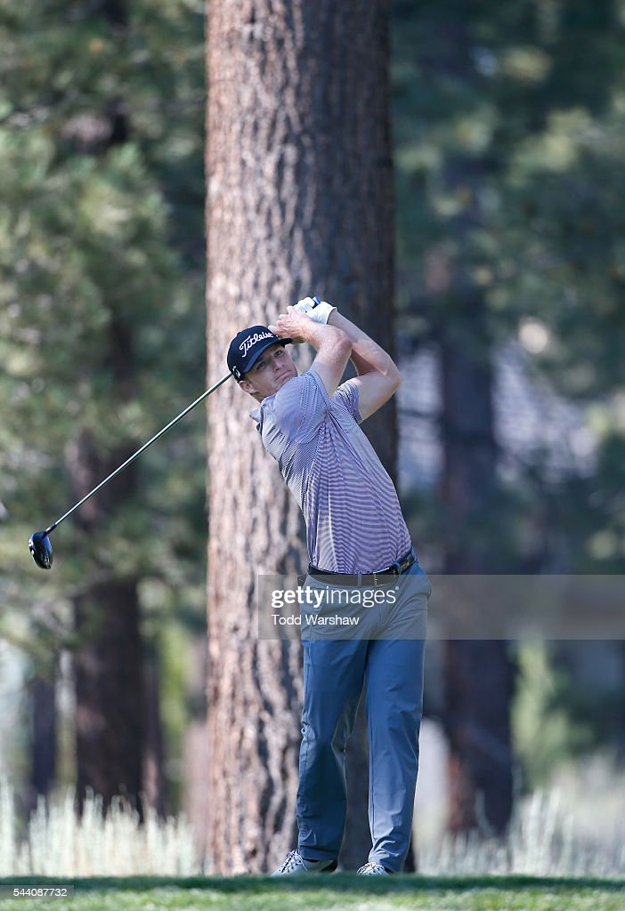 Morgan Hoffmann plays his shot from the eighth tee during the second round of the Barracuda Championship at the Montreux Golf and Country Club on July 1, 2016 in Reno, Nevada.