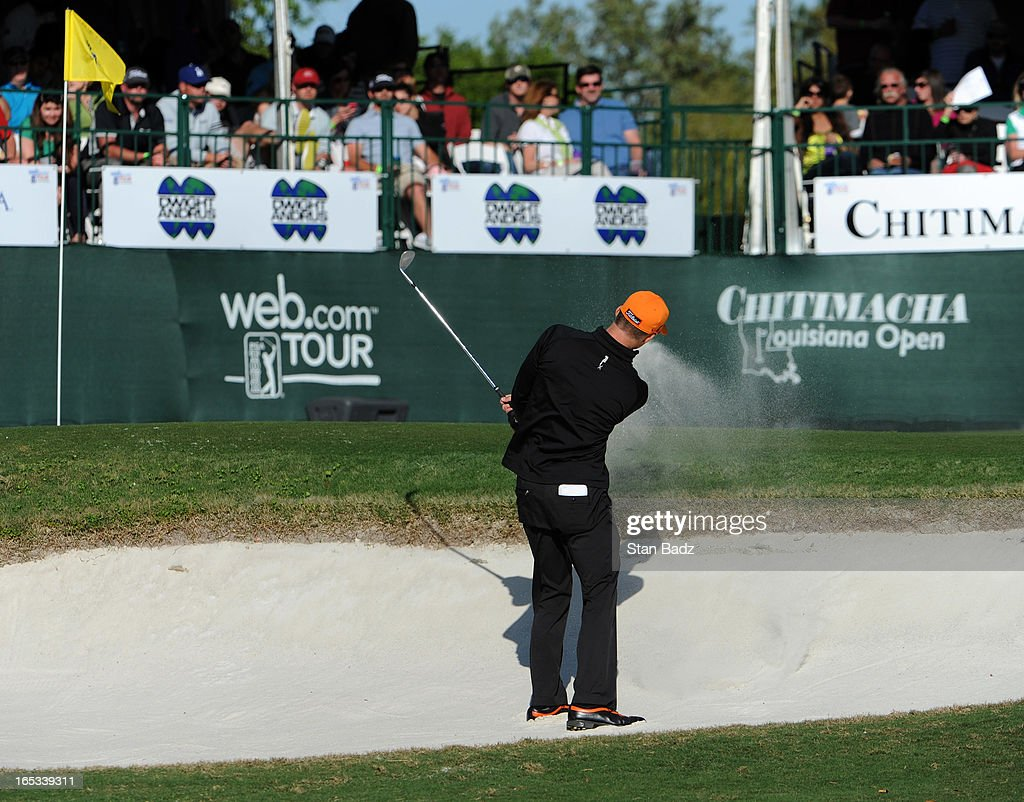 Morgan Hoffmann plays the 18th hole during the final round of the Chitimacha Louisiana Open at Le Triomphe Country Club on March 24, 2013 in Broussard, Louisiana.
