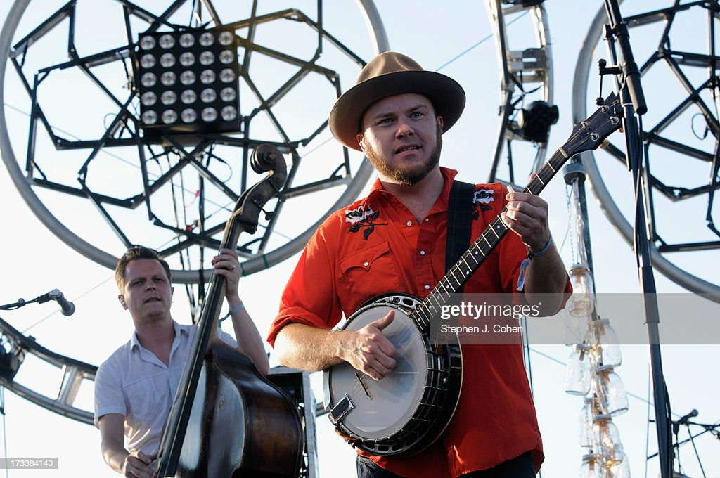 Morgan Jahnig and Critter Fuqua of Old Crow Medicine Show performs during the 2013 Forecastle Festival at Waterfront Park on July 12, 2013 in Louisville, Kentucky.
