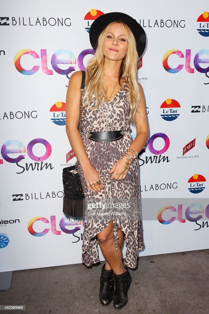 Morgan Joanel arrives at the 2013 CLEO Swim Party at The Bucket List on November 26, 2013 in Sydney, Australia.