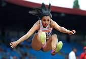 Morgan Lake of Great Britain competes in the Womens Long Jump Final during the 2014 Sainsbury's British Championships at the Alexander Stadium in...