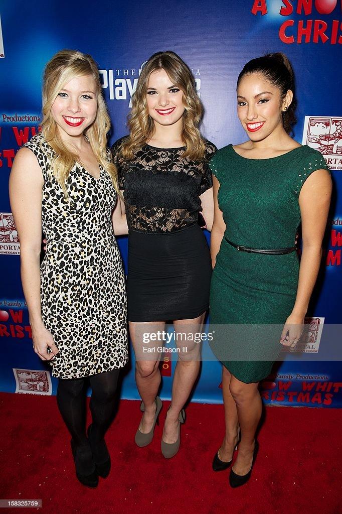 Morgan Larson, Janaya French and Clarice Ordaz attend 'A Snow White Christmas' at the Pasadena Playhouse on December 12, 2012 in Pasadena, California.