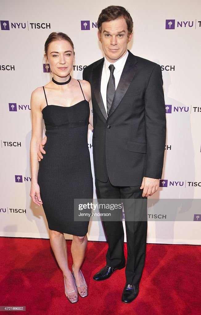 Morgan MacGregor and Michael C Hall attend NYU Tisch School of The Arts 2015 Gala at Frederick P Rose Hall Jazz at Lincoln Center on May 4 2015 in...