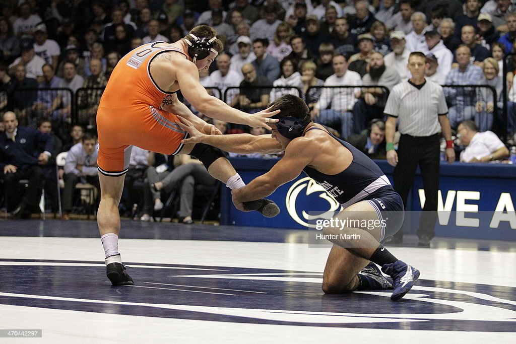 Morgan McIntosh of the Penn State Nittany Lions during a 197 pound match against Kyle Crutchmer of the Oklahoma State Cowboys on February 16, 2014 at Rec Hall on the campus of Penn State University in State College, Pennsylvania. Penn State won 23-12.