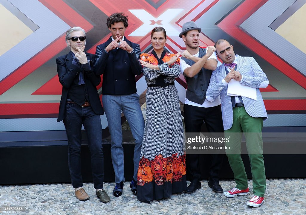 Morgan, Mika, Simona Ventura, Alessandro Cattelan and Elio attend X Factor 2013 Photocall at La Fonderia Napoleonica on September 24, 2013 in Milan, Italy.