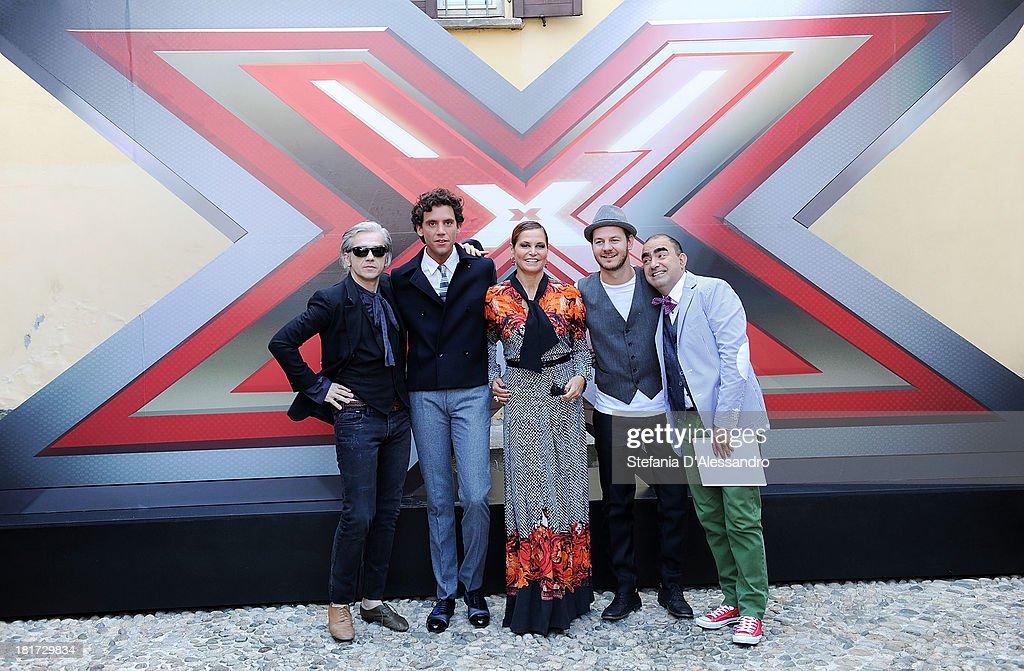 Morgan, Mika, Simona Ventura, Alessandro Cattelan and Elio attend X Factor 2013 Photocall at La Fonderia Napoleonica on September 24, 2013 in Milan, Italy.