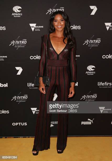 Morgan Mitchell arrives ahead of the Nitro Athletics Gala Dinner at Crown Palladium on February 2 2017 in Melbourne Australia