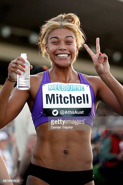 Morgan Mitchell celebrates winning the 400m during the 92nd Australian Athletics Championships at Olympic Park on April 5 2014 in Melbourne Australia
