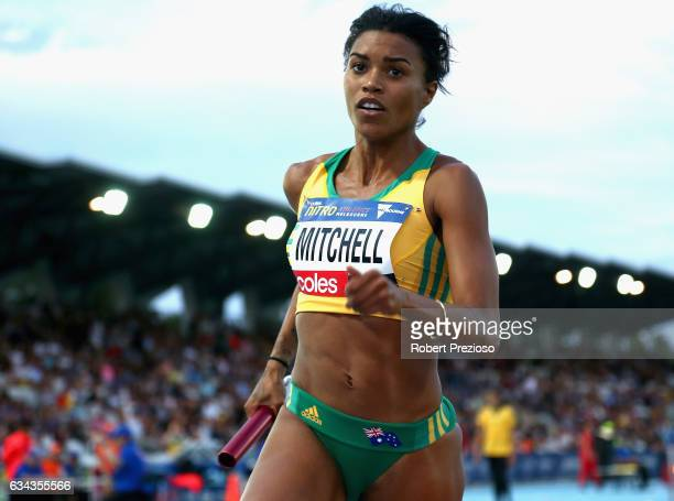 Morgan Mitchell of Australia competes in mixed 2x300 metre relay during the 2017 Nitro Athletics Series at Lakeside Stadium on February 9 2017 in...