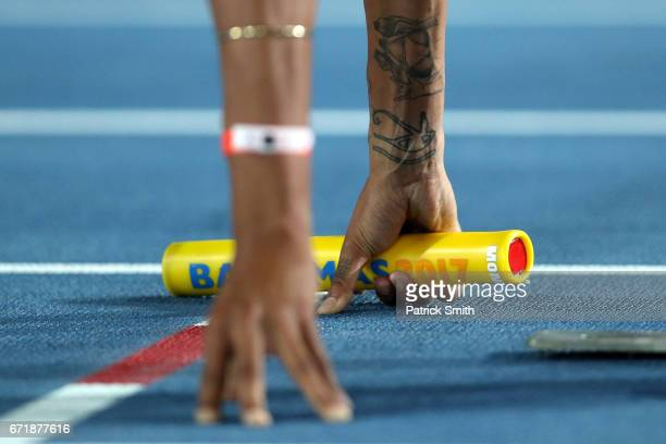 Morgan Mitchell of Australia holds the baton as she prepares before the Women's 4x400 Metres Relay during the IAAF/BTC World Relays Bahamas 2017 at...