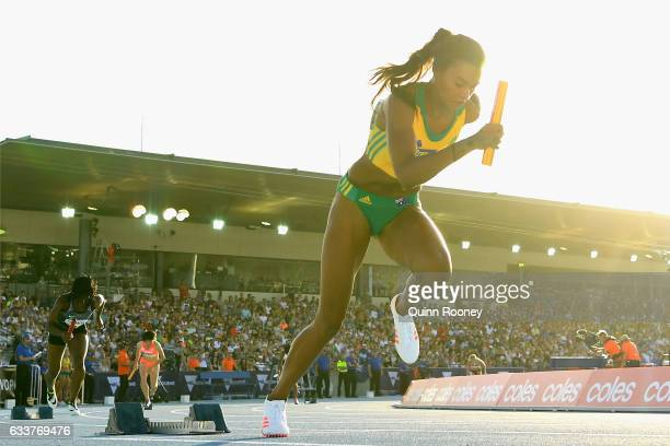Morgan Mitchell of Australia starts in the Medley Relay during Nitro Athletics at Lakeside Stadium on February 4 2017 in Melbourne Australia