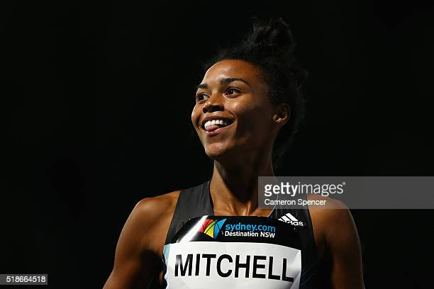 Morgan Mitchell of Victoria celebrates winning the womens 400m final during the Australian Athletics Championships at Sydney Olympic Park on April 2...