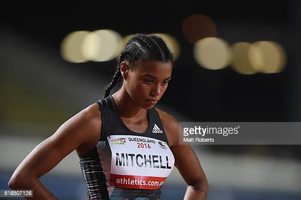 Morgan Mitchell prepares to compete in the Womens 400 metres during the Queensland Track Classic on March 19 2016 in Brisbane Australia
