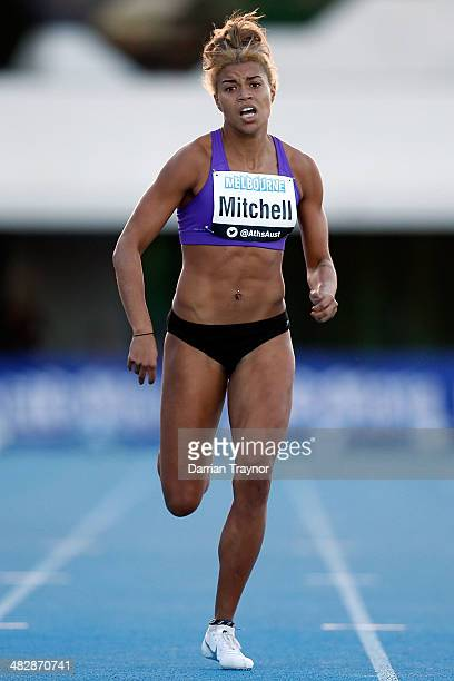 Morgan Mitchell runs in the 400m final during the 92nd Australian Athletics Championships at Olympic Park on April 5 2014 in Melbourne Australia