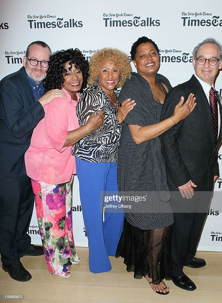 Morgan Neville, Merry Clayton, <a gi-track='captionPersonalityLinkClicked' href=/galleries/search?phrase=Darlene+Love&family=editorial&specificpeople=220743 ng-click='$event.stopPropagation()'>Darlene Love</a>, Lisa Fischer and Jon Pareles attend 'Twenty Feet from Stardom at TheTimesCenter on June 11, 2013 in New York City.