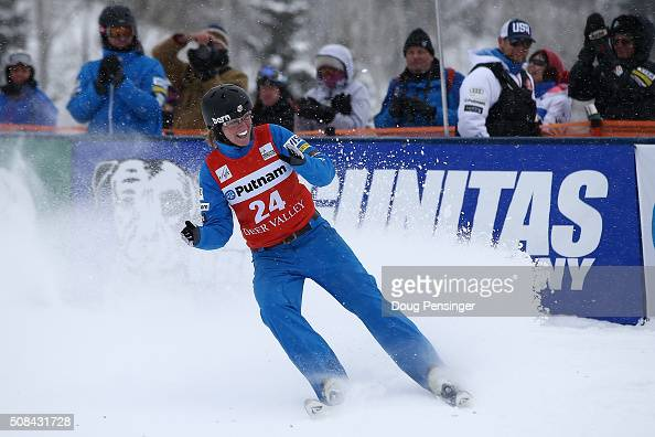 Morgan Northrop of the United States celebrates as she jumps to sixth place in the FIS Freestyle Skiing Aerials World Cup at the Visa Freestyle...
