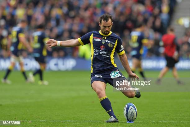 Morgan Parra of Clermont Auvergne kicks at goal during the European Rugby Champions Cup Final between ASM Clermont Auvergne and Saracens at...