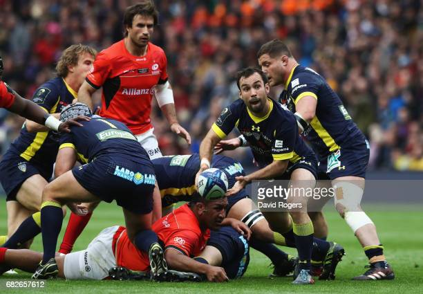 Morgan Parra of Clermont Auvergne passes the ball out from a ruck during the European Rugby Champions Cup Final between ASM Clermont Auvergne and...