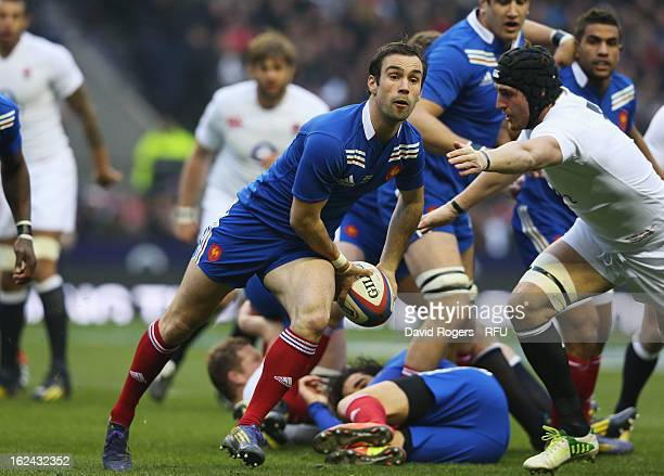 Morgan Parra of France dispatches the ball during the RBS Six Nations match between England and France at Twickenham Stadium on February 23 2013 in...