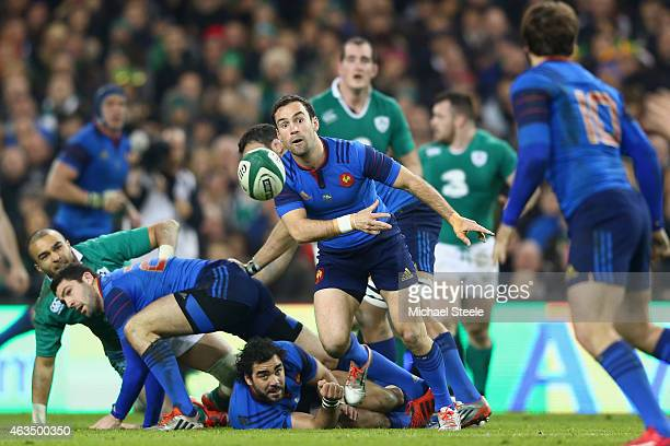Morgan Parra of France feeds a pass from the scrum during the RBS Six Nations match between Ireland and France at the Aviva Stadium on February 14...