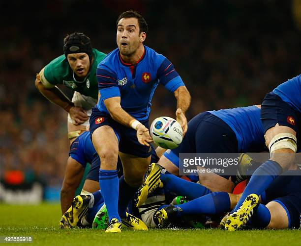 Morgan Parra of France in action during the 2015 Rugby World Cup Pool D match between France and Ireland at Millennium Stadium on October 11 2015 in...