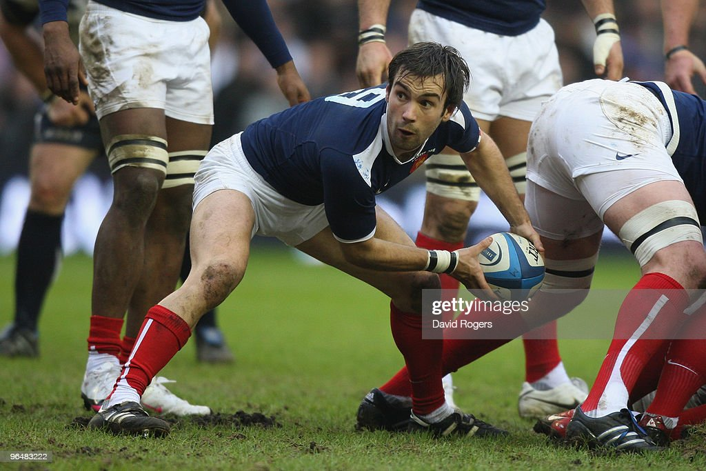 <a gi-track='captionPersonalityLinkClicked' href=/galleries/search?phrase=Morgan+Parra&family=editorial&specificpeople=688758 ng-click='$event.stopPropagation()'>Morgan Parra</a> of France in action during the RBS Six Nations Championship match between Scotland and France at Murrayfield Stadium on February 7, 2010 in Edinburgh, United Kingdom.