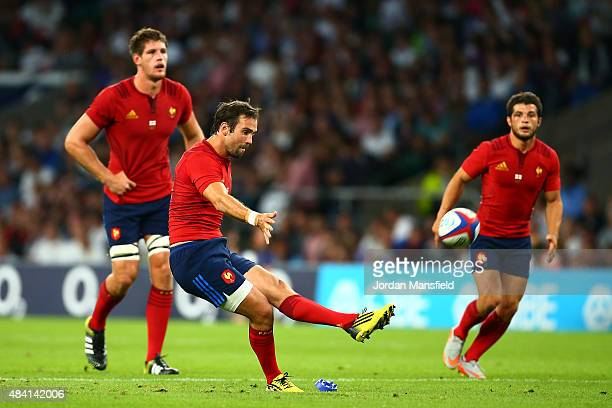 Morgan Parra of France kicks at goal during the QBE International match between England and France at Twickenham Stadium on August 15 2015 in London...