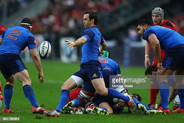 Morgan Parra of France kicks clear from a scrum during the RBS Six Nations match between France and Wales at the Stade de France on February 28 2015...