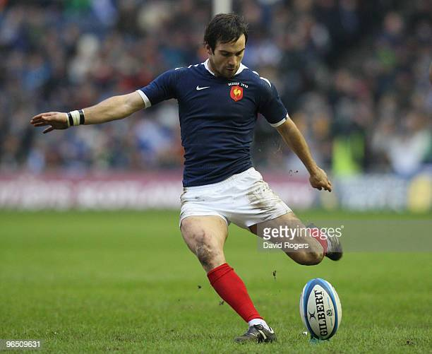 Morgan Parra of France kicks during the RBS Six Nations Championship match between Scotland and France at Murrayfield Stadium on February 7 2010 in...