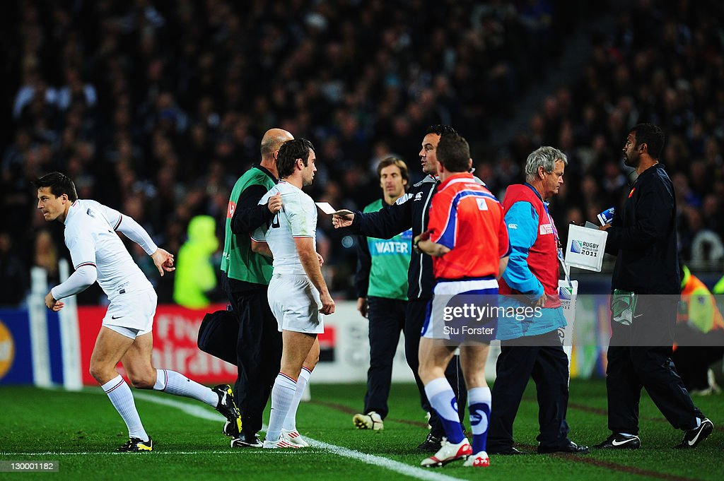 <a gi-track='captionPersonalityLinkClicked' href=/galleries/search?phrase=Morgan+Parra&family=editorial&specificpeople=688758 ng-click='$event.stopPropagation()'>Morgan Parra</a> of France (3L) leaves the pitch injured during the 2011 IRB Rugby World Cup Final match between France and New Zealand at Eden Park on October 23, 2011 in Auckland, New Zealand.
