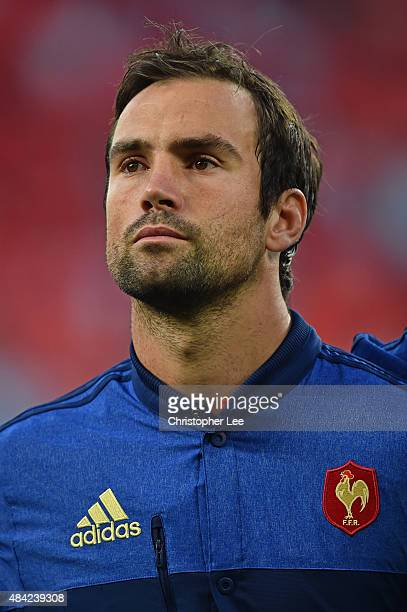 Morgan Parra of France lines up for the national anthems during the QBE International match between England and France at Twickenham Stadium on...