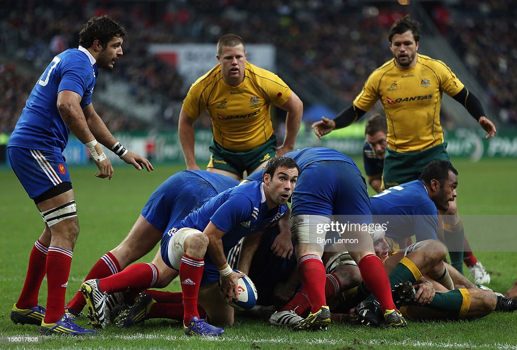 <a gi-track='captionPersonalityLinkClicked' href=/galleries/search?phrase=Morgan+Parra&family=editorial&specificpeople=688758 ng-click='$event.stopPropagation()'>Morgan Parra</a> of France passes the ball during the Autumn International match between France and Australia at Stade de France on November 10, 2012 in Paris, France.