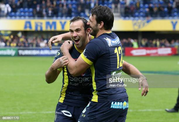 Morgan Parra Remi Lamerat of ASM Clermont celebrate the victory following the European Rugby Champions Cup quarter final match between ASM Clermont...