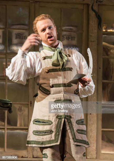 Morgan Pearse as Figaro performs on stage during a performance of Jonathan Millers classic production of 'The Barber of Seville' at London Coliseum...