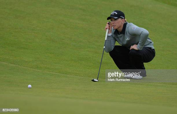 Morgan Pessel of USA lines up a putt at the 10th hole during the first day of the Aberdeen Asset Management Ladies Scottish Open at Dundonald Links...