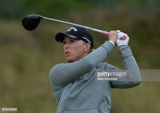 Morgan Pessel of USA plays her tee shot to the 11th hole during the first day of the Aberdeen Asset Management Ladies Scottish Open at Dundonald...