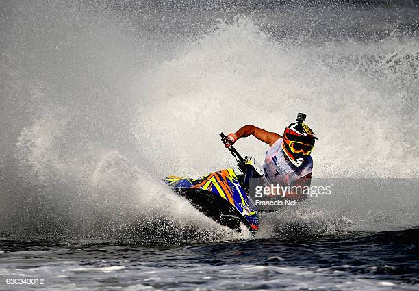 Morgan Poret of France race in the Ski Division GP1 final during the Aquabike Class Pro Circuit World Championships Grand Prix of Sharjah at Khalid...