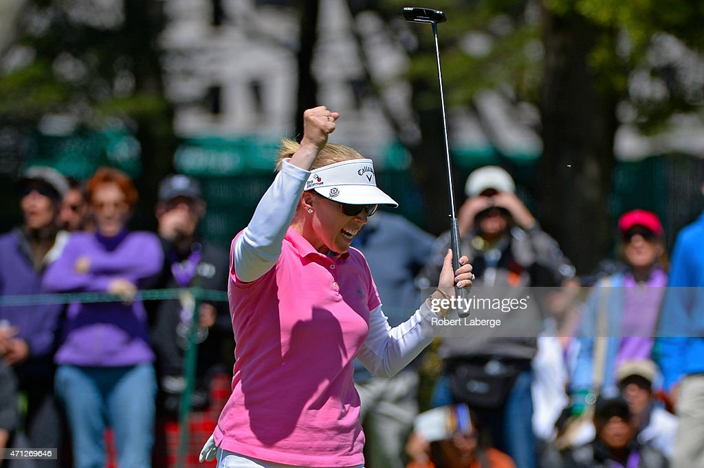 Morgan Pressel celebrates an eagle putt on the sixth hole during the final round of the Swinging Skirts LPGA Classic presented by CTBC at the Lake Merced Golf Club on April 26, 2015 in Daly City, California.