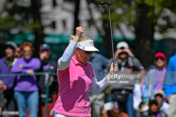 Morgan Pressel celebrates an eagle putt on the sixth hole during the final round of the Swinging Skirts LPGA Classic presented by CTBC at the Lake...