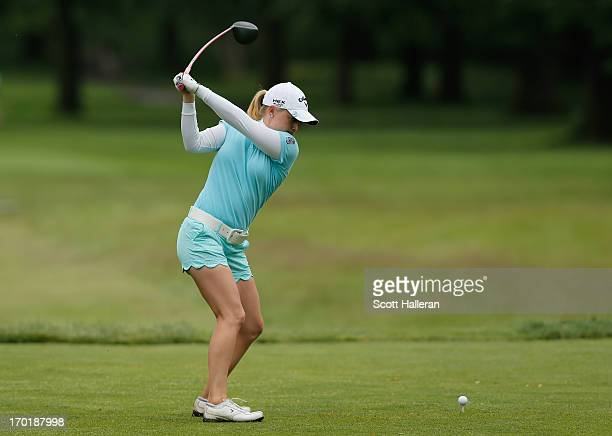 Morgan Pressel hits her tee shot on the fourth hole during the weatherdelayed second round of the Wegmans LPGA Championship at Locust Hill Country...
