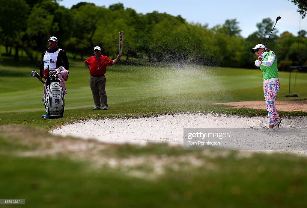 <a gi-track='captionPersonalityLinkClicked' href=/galleries/search?phrase=Morgan+Pressel&family=editorial&specificpeople=213164 ng-click='$event.stopPropagation()'>Morgan Pressel</a> of Boca Raton, Florida hits a shot during the first round of the 2013 North Texas LGPA Shootout at the Las Colinas Country Club on April 25, 2013 in Irving, Texas.