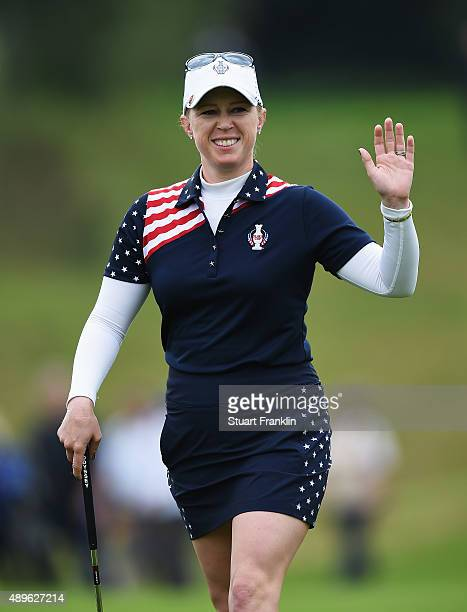 Morgan Pressel of team USA waves during the singles matches of The Solheim Cup at St LeonRot Golf Club on September 20 2015 in St LeonRot Germany