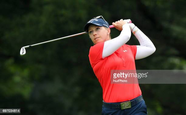 Morgan Pressel of the United States follows her tee shot on the second tee during the third round of the Meijer LPGA Classic golf tournament at...