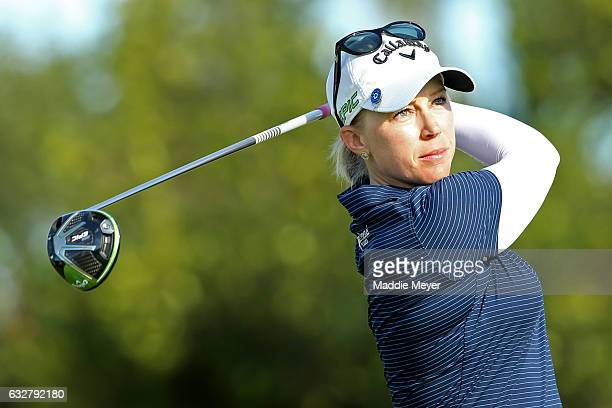 Morgan Pressel of the United States hits a tee shot during round one of the Pure Silk Bahamas LPGA Classic on January 26 2017 in Paradise Island...