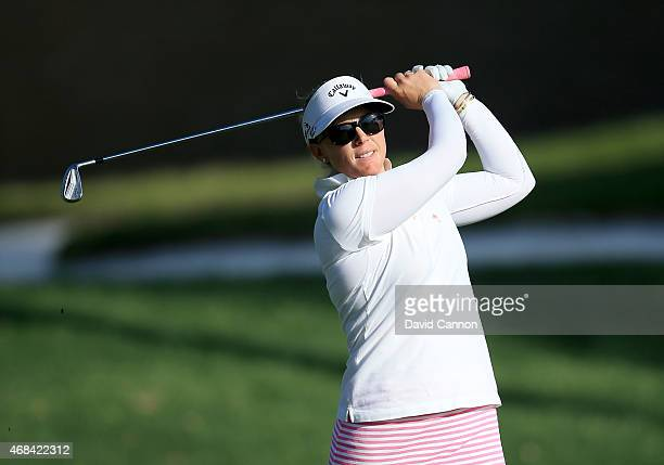 Morgan Pressel of the USA plays her second shot on the 15th hole during the first round of the ANA Inspiration on the Dinah Shore Tournament Course...
