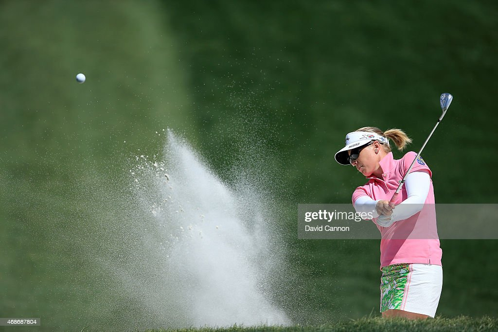 Morgan Pressel of the USA plays her third shot on the par 4, first hole during the final round of the ANA Inspiration on the Dinah Shore Tournament Course at Mission Hills Country Club on April 5, 2015 in Rancho Mirage, California.