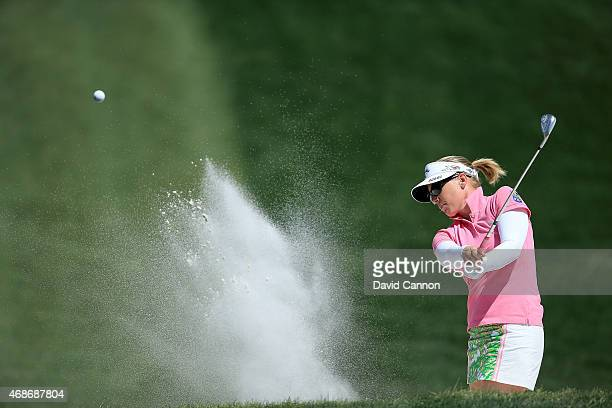 Morgan Pressel of the USA plays her third shot on the par 4 first hole during the final round of the ANA Inspiration on the Dinah Shore Tournament...