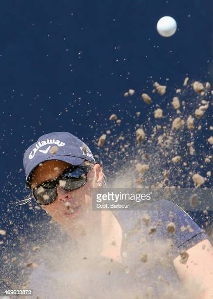 Morgan Pressel of the USA plays out of a bunker on the 2nd hole during the fourth round of the ISPS Handa Women's Australian Open at The Victoria...