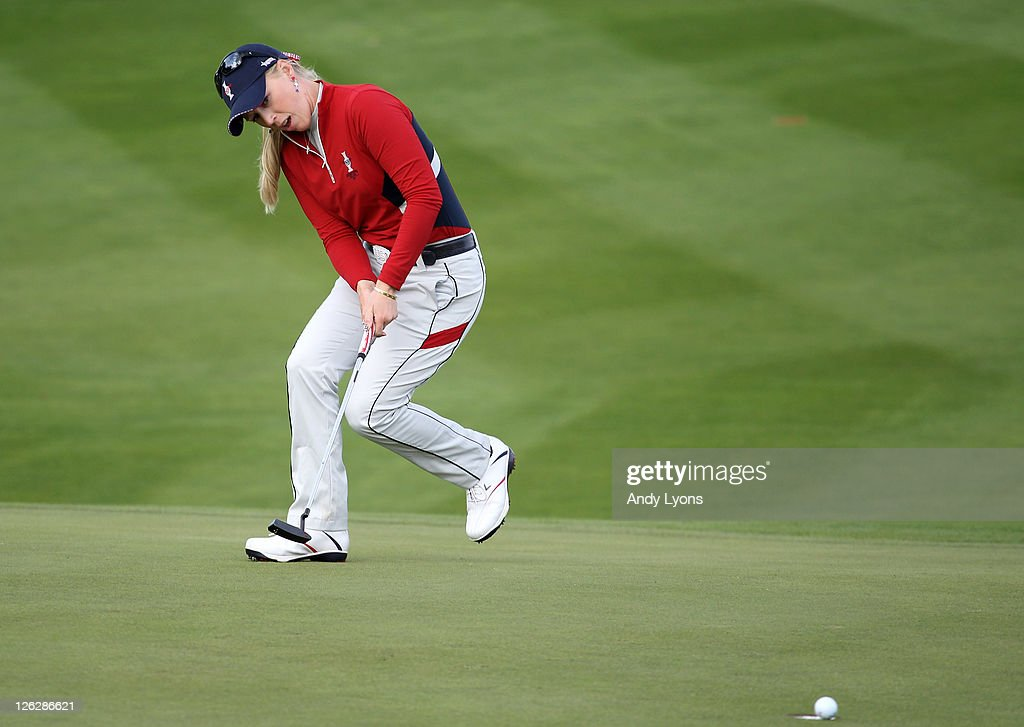 Morgan Pressel of the USA reacts to a missed putt during the afternoon fourballs on day two of the 2011 Solheim Cup at Killeen Castle Golf Club on September 24, 2011 in Dunshaughlin, County Meath, Ireland.