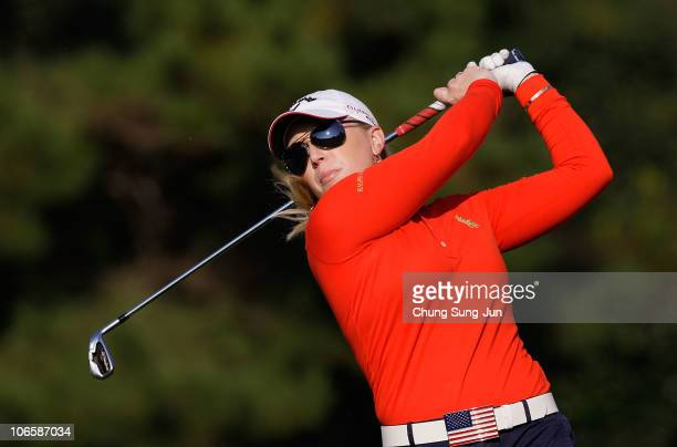 Morgan Pressel of United States plays a shot on the 17th hole during round two of the Mizuno Classic at Kintetsu Kashikojima Country Club on November...